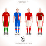 EURO 2016 GROUP F Championship. France EURO 2016 Championship Infographic Qualified Soccer Players GROUP F. Football Game Jersey flags of final participating Royalty Free Stock Photos