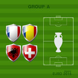 Euro 2016 group a in soccer. Infographic Royalty Free Stock Photos