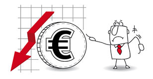 Euro is growing down. Fluctuation of the euro in the down Royalty Free Illustration
