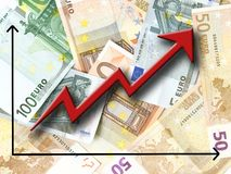 Euro growth. Euro money growth concept, against background made of Euro bills Stock Photo