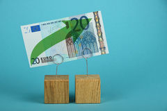 Euro growth illustrated over blue Royalty Free Stock Image