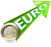 Euro Growth - Positive Green Arrow Stock Image