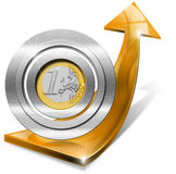 Euro Growth - Positive Orange Arrow Royalty Free Stock Images