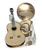EURO and guitar. Isolated personage on a white background Stock Photography