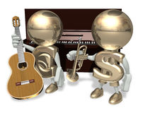 EURO and guitar. EURO and mr Dollar isolated personage on a white background Royalty Free Stock Photo