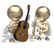 EURO and guitar. EURO and mr Dollar isolated personage on a white background Stock Photography