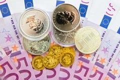 500 euro, guld och silver Fotografering för Bildbyråer