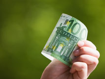 Euro in Hand Stock Photography