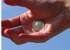 Euro in hand Royalty Free Stock Photography