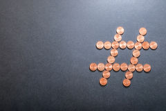 Euro hashtag. Hashtag made of eurocent coins for your financial copy - copy space to the left Royalty Free Stock Photo