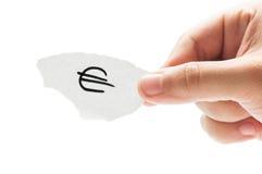 euro hauts de la devise 3d d'isolement rendent le symbole de résolution blanc Images libres de droits