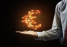 euro hauts de la devise 3d d'isolement rendent le symbole de résolution blanc Image stock