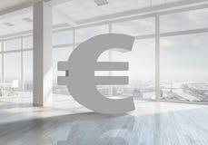 euro hauts de la devise 3d d'isolement rendent le symbole de résolution blanc Media mélangé Photographie stock libre de droits