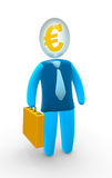 Euro head. Businessman with euro sign inside of head. Concept of successful business and creative mind Stock Photography
