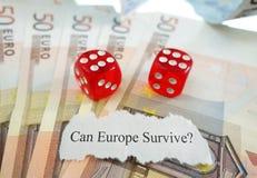 Euro headline and dice Royalty Free Stock Photo