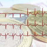 Euro Health Check. Close up of Euro coins overlaid with ECG graph Stock Photography