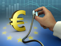 Euro health. Doctor using a stethoscope to check a gold euro symbol. Digital illustration Stock Images