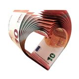100 Euro Notes as a shape of heart. 3d illustration royalty free illustration