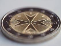 Euro het muntstukmacro van Malta stock foto