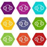 Euro het pictogram vastgestelde kleur van de dollar euro uitwisseling hexahedron Stock Afbeelding