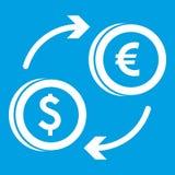 Euro het pictogramwit van de dollar euro uitwisseling Royalty-vrije Stock Afbeeldingen