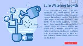 Euro het Water geven de Groei Conceptuele Banner Royalty-vrije Stock Afbeeldingen