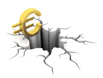 Euro and hole. 3D render Royalty Free Stock Photo