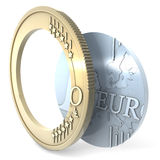 Euro hole. One Euro coin separating metal parts, leaving inner hole stock illustration