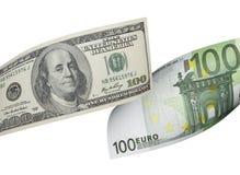 Euro honderd en de collage van de dollarrekening op wit wordt geïsoleerd dat Royalty-vrije Stock Fotografie