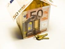 Euro house. Close-up image of 50 euro royalty free stock photo