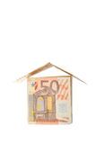 Euro house. House built from euro bills isolated on white background Royalty Free Stock Photo
