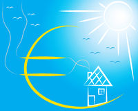 Euro house. Euro, house, sun, birds and sky royalty free illustration