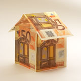 Euro house. A house made from euro bills Stock Image