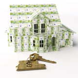 Euro house. Isolated house collored by euro money Royalty Free Stock Photo