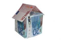 Euro House. House made of money, euro bills Royalty Free Stock Photo
