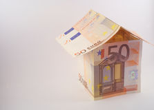 Euro house. A house for fifty euro Royalty Free Stock Images