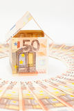 Euro house and banknotes Royalty Free Stock Images