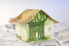 Euro house and blueprints Stock Image