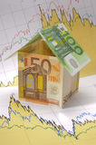 Euro house on chart. Euro model house on business finance  chart Stock Image