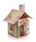 Euro house made from banknotes isolated Royalty Free Stock Images