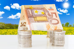Euro house in nature. Euro bank notes and coins in the nature Stock Photography