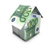 Euro House Shape. Real estate concept. House shaped with euro banknotes on white background Royalty Free Stock Image