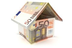50 Euro Notes House Symbol. 50 Euro House Sign - 3d illustration vector illustration