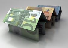 Euro house. Three houses of euro on white background Royalty Free Stock Photo
