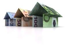 Euro houses. Three Origami houses of euro isolated on white background Royalty Free Stock Photos