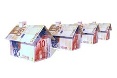 Euro houses. Houses build from different euro bills Stock Photos