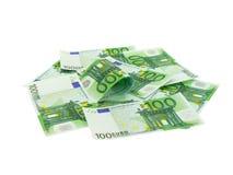 euro hundra pengarstapel royaltyfria bilder