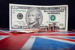 Euro i amerykański dolar na Brytyjski flaga Zdjęcie Royalty Free