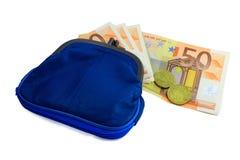 Euro i blå plånbok Arkivbilder