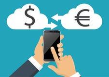 Euro i dolarowa waluta wektor Pieniądze waluty konwertyta, ikona ilustracja wektor